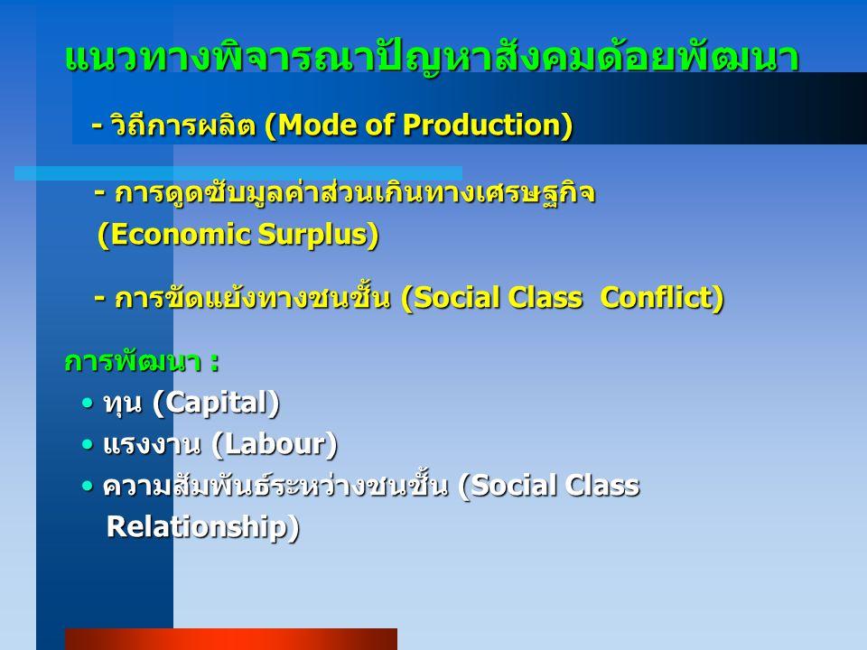 แนวทางพิจารณาปัญหาสังคมด้อยพัฒนา - วิถีการผลิต (Mode of Production) - วิถีการผลิต (Mode of Production) - การดูดซับมูลค่าส่วนเกินทางเศรษฐกิจ - การดูดซับมูลค่าส่วนเกินทางเศรษฐกิจ (Economic Surplus) (Economic Surplus) - การขัดแย้งทางชนชั้น (Social Class Conflict) - การขัดแย้งทางชนชั้น (Social Class Conflict) การพัฒนา : ทุน (Capital) ทุน (Capital) แรงงาน (Labour) แรงงาน (Labour) ความสัมพันธ์ระหว่างชนชั้น (Social Class ความสัมพันธ์ระหว่างชนชั้น (Social Class Relationship) Relationship)