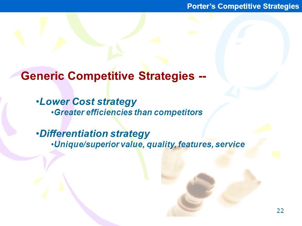 22 Porter's Competitive Strategies Generic Competitive Strategies -- Lower Cost strategy Greater efficiencies than competitors Differentiation strateg