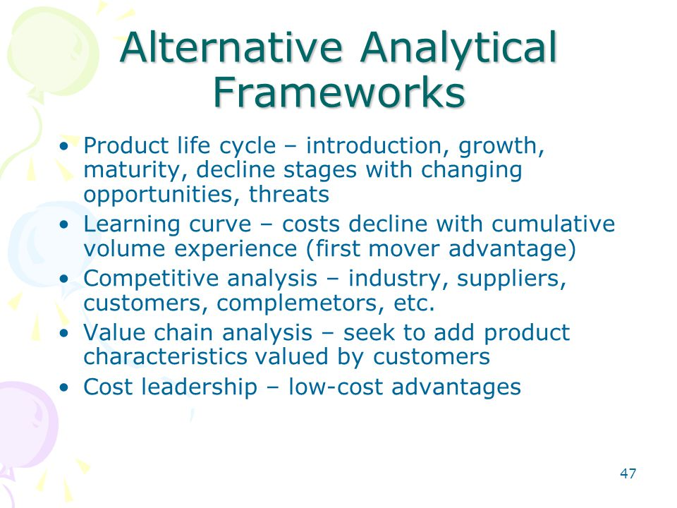 47 Alternative Analytical Frameworks Product life cycle – introduction, growth, maturity, decline stages with changing opportunities, threats Learning