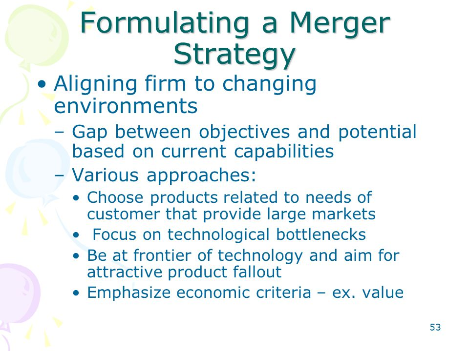 53 Formulating a Merger Strategy Aligning firm to changing environments –Gap between objectives and potential based on current capabilities –Various a