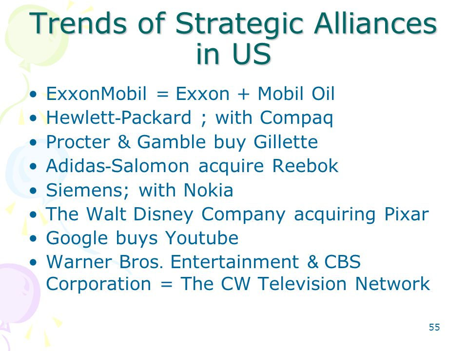 55 Trends of Strategic Alliances in US ExxonMobil = Exxon + Mobil Oil Hewlett-Packard ; with Compaq Procter & Gamble buy Gillette Adidas-Salomon acqui