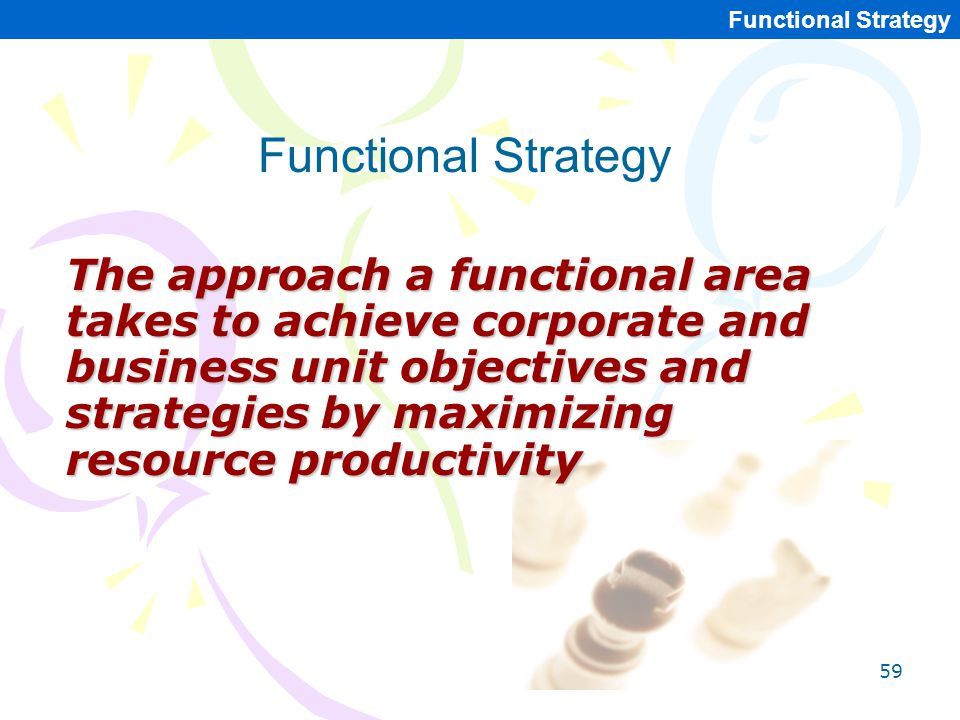 59 Functional Strategy The approach a functional area takes to achieve corporate and business unit objectives and strategies by maximizing resource pr