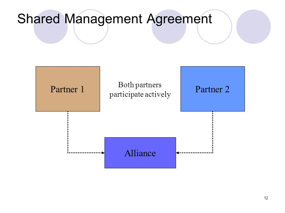12 Shared Management Agreement Partner 1Partner 2 Alliance Both partners participate actively