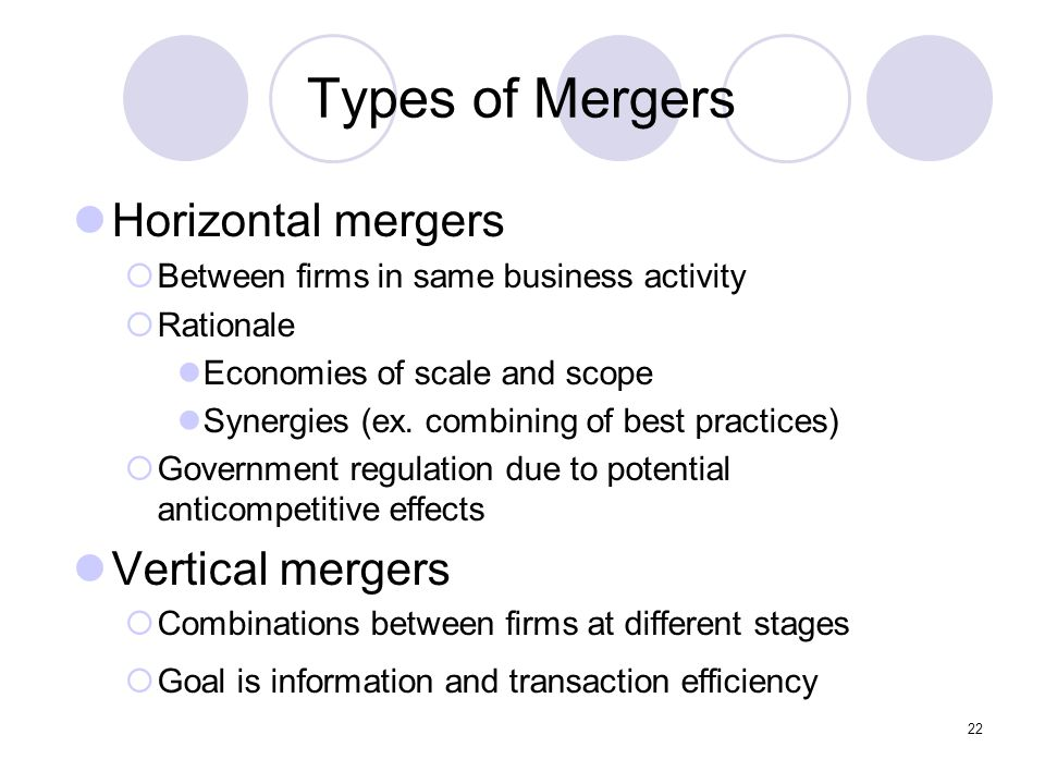 22 Types of Mergers Horizontal mergers  Between firms in same business activity  Rationale Economies of scale and scope Synergies (ex. combining of