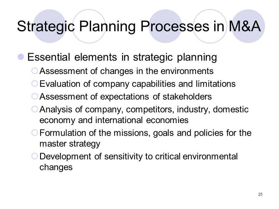 25 Strategic Planning Processes in M&A Essential elements in strategic planning  Assessment of changes in the environments  Evaluation of company ca