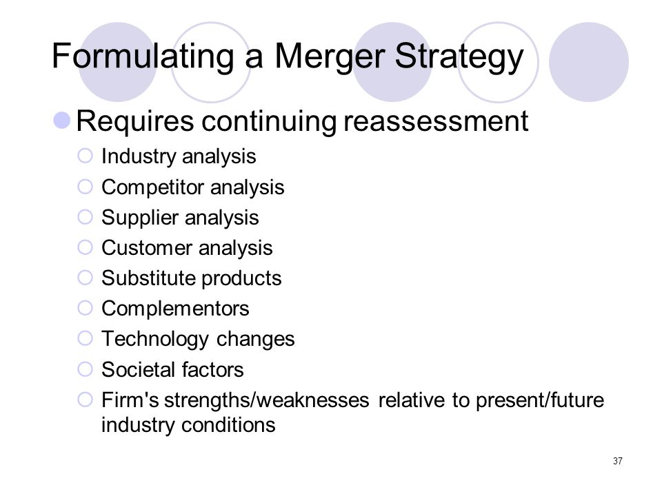 37 Formulating a Merger Strategy Requires continuing reassessment  Industry analysis  Competitor analysis  Supplier analysis  Customer analysis 