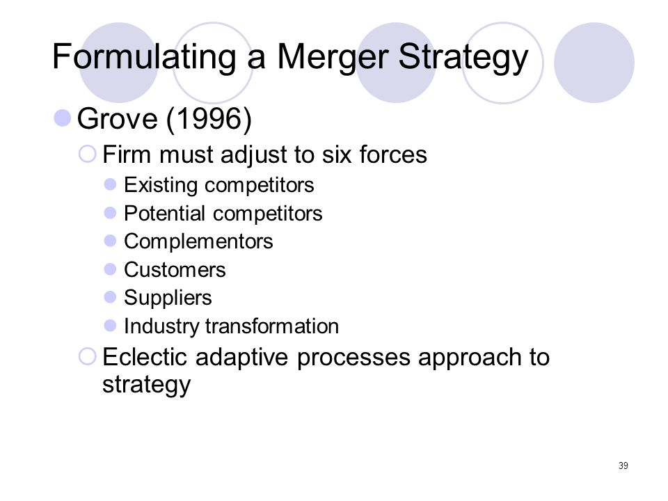 39 Formulating a Merger Strategy Grove (1996)  Firm must adjust to six forces Existing competitors Potential competitors Complementors Customers Supp