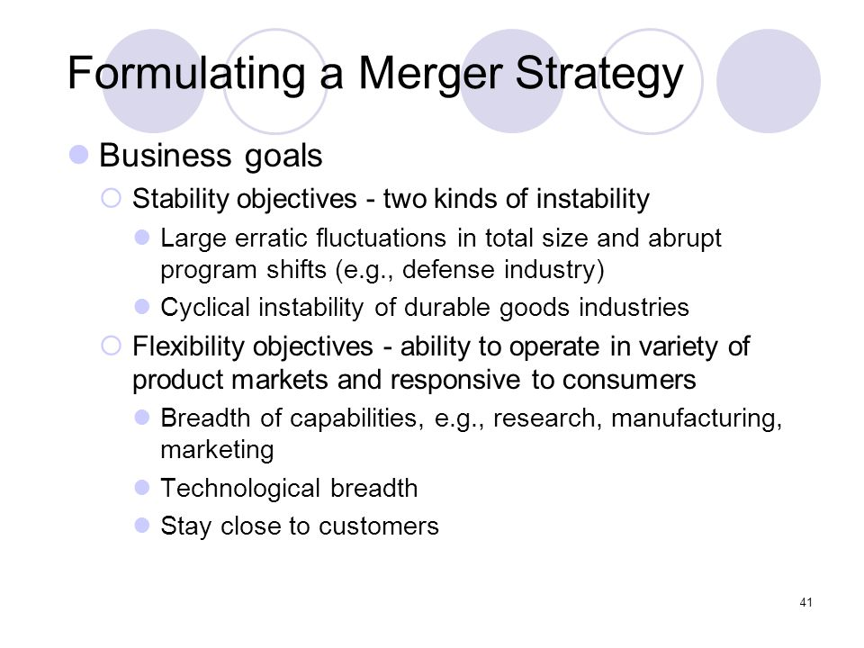 41 Formulating a Merger Strategy Business goals  Stability objectives - two kinds of instability Large erratic fluctuations in total size and abrupt