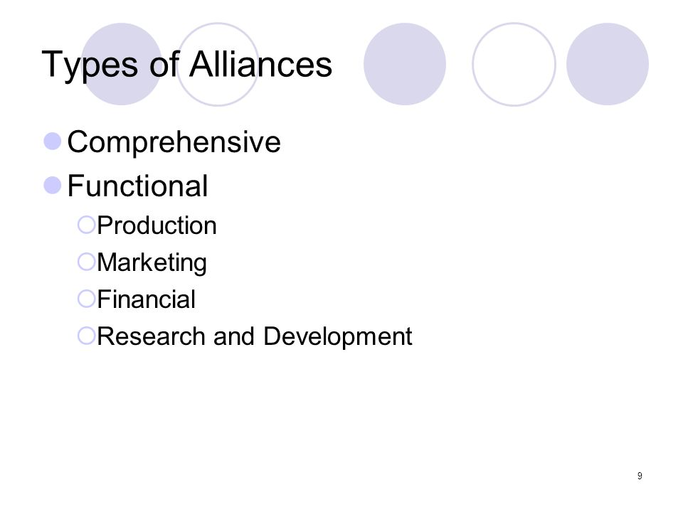 9 Types of Alliances Comprehensive Functional  Production  Marketing  Financial  Research and Development