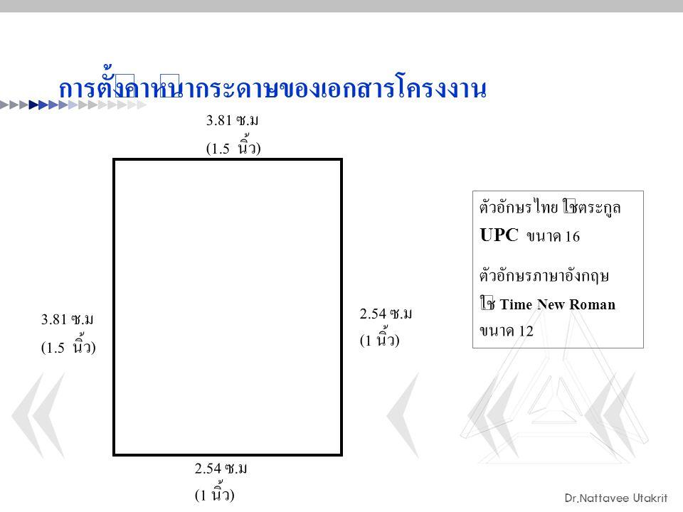 Dr.Nattavee Utakrit การตั้งค่าหน้ากระดาษของเอกสารโครงงาน 3.81 ซ. ม (1.5 นิ้ว ) 2.54 ซ. ม (1 นิ้ว ) 3.81 ซ. ม (1.5 นิ้ว ) 2.54 ซ. ม (1 นิ้ว ) ตัวอักษรไ