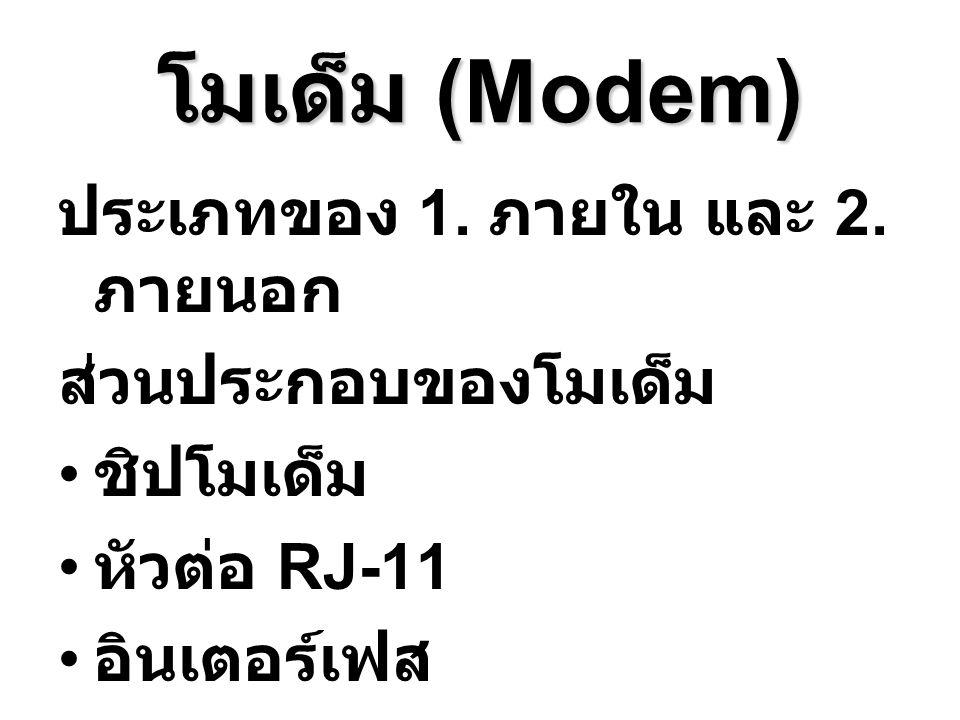 โมเด็ม (Modem) ประเภทของ 1. ภายใน และ 2. ภายนอก ส่วนประกอบของโมเด็ม ชิปโมเด็ม หัวต่อ RJ-11 อินเตอร์เฟส