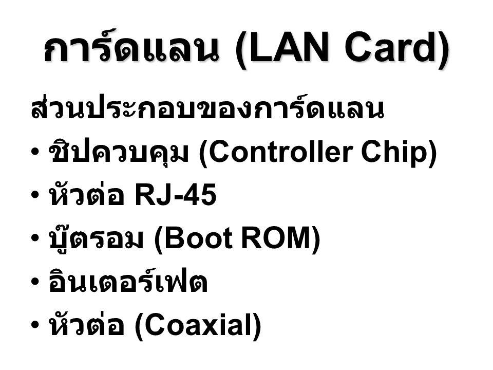 การ์ดแลน (LAN Card) ส่วนประกอบของการ์ดแลน ชิปควบคุม (Controller Chip) หัวต่อ RJ-45 บู๊ตรอม (Boot ROM) อินเตอร์เฟต หัวต่อ (Coaxial)