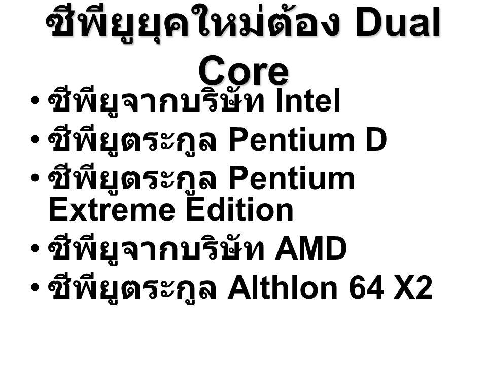 ซีพียูยุคใหม่ต้อง Dual Core ซีพียูจากบริษัท Intel ซีพียูตระกูล Pentium D ซีพียูตระกูล Pentium Extreme Edition ซีพียูจากบริษัท AMD ซีพียูตระกูล Althlon