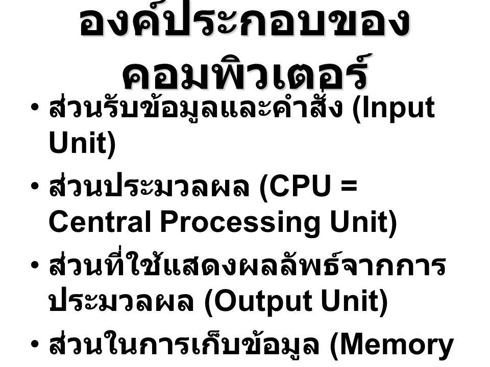 องค์ประกอบของ คอมพิวเตอร์ ส่วนรับข้อมูลและคำสั่ง (Input Unit) ส่วนประมวลผล (CPU = Central Processing Unit) ส่วนที่ใช้แสดงผลลัพธ์จากการ ประมวลผล (Outpu