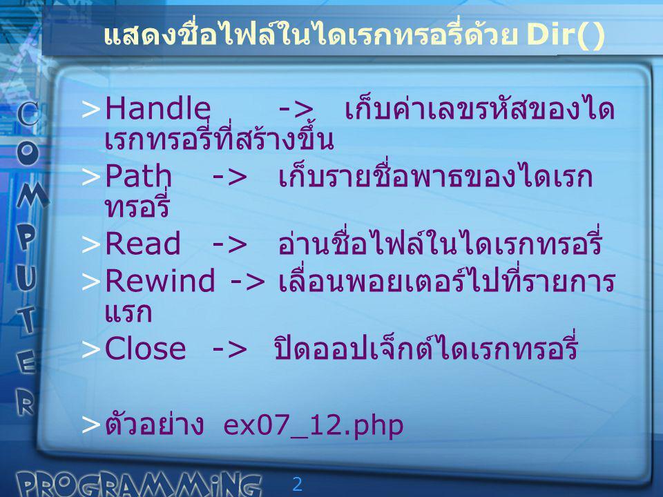 2 แสดงชื่อไฟล์ในไดเรกทรอรี่ด้วย Dir() >Handle-> เก็บค่าเลขรหัสของได เรกทรอรี่ที่สร้างขึ้น >Path-> เก็บรายชื่อพาธของไดเรก ทรอรี่ >Read-> อ่านชื่อไฟล์ในไดเรกทรอรี่ >Rewind -> เลื่อนพอยเตอร์ไปที่รายการ แรก >Close-> ปิดออปเจ็กต์ไดเรกทรอรี่ > ตัวอย่าง ex07_12.php