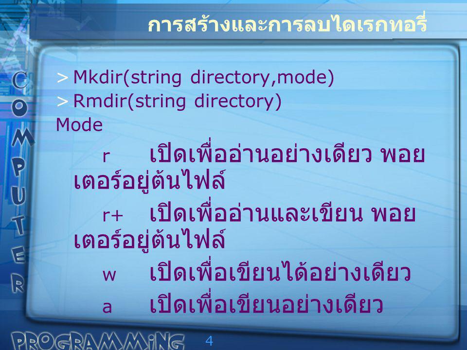 4 การสร้างและการลบไดเรกทอรี่ >Mkdir(string directory,mode) >Rmdir(string directory) Mode r เปิดเพื่ออ่านอย่างเดียว พอย เตอร์อยู่ต้นไฟล์ r+ เปิดเพื่ออ่านและเขียน พอย เตอร์อยู่ต้นไฟล์ w เปิดเพื่อเขียนได้อย่างเดียว a เปิดเพื่อเขียนอย่างเดียว