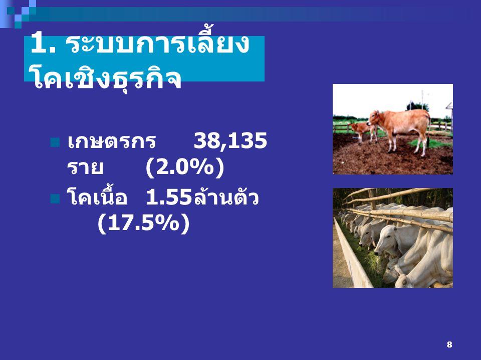 8 1. ระบบการเลี้ยง โคเชิงธุรกิจ เกษตรกร 38,135 ราย (2.0%) โคเนื้อ 1.55 ล้านตัว (17.5%)