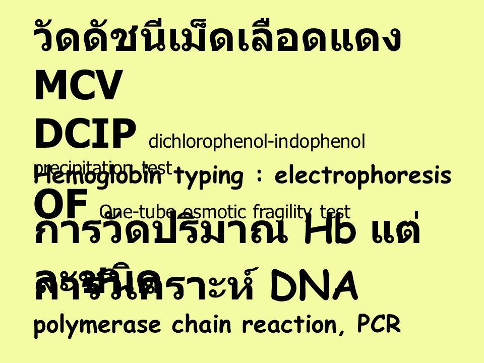 วัดดัชนีเม็ดเลือดแดง MCV DCIP dichlorophenol-indophenol precipitation test OF One-tube osmotic fragility test Hemoglobin typing : electrophoresis การว