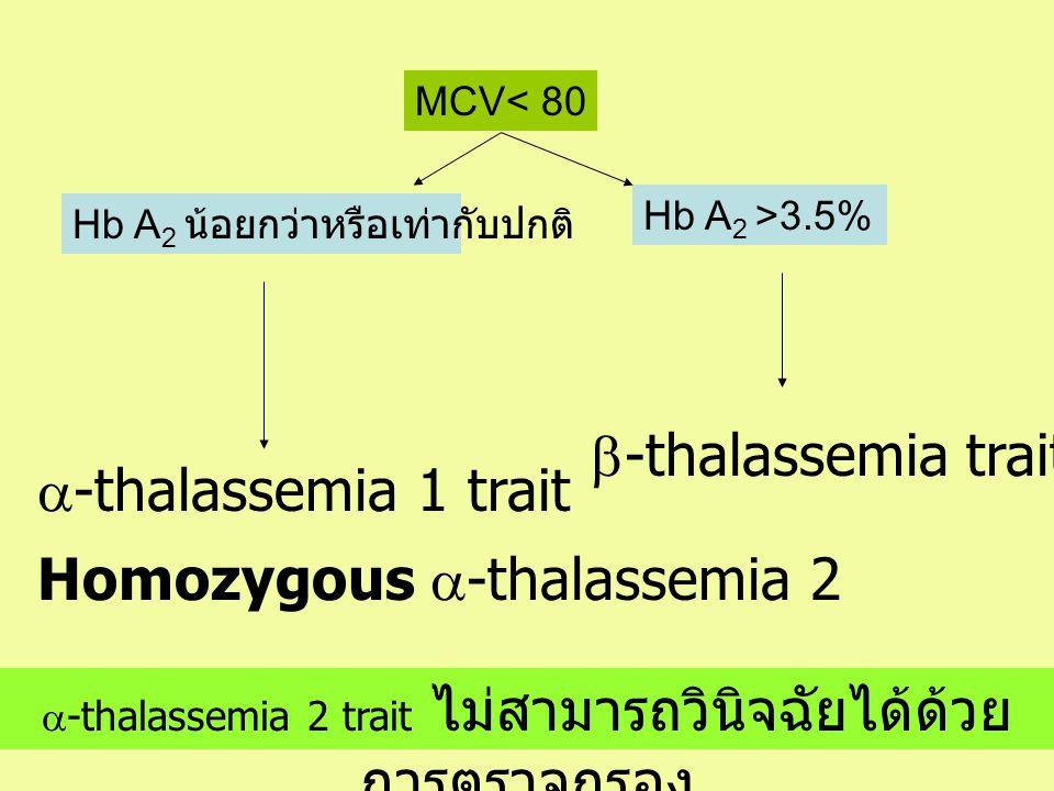 MCV< 80 Hb A 2 >3.5%  -thalassemia trait Hb A 2 น้อยกว่าหรือเท่ากับปกติ  -thalassemia 1 trait  -thalassemia 2 trait ไม่สามารถวินิจฉัยได้ด้วย การตรว