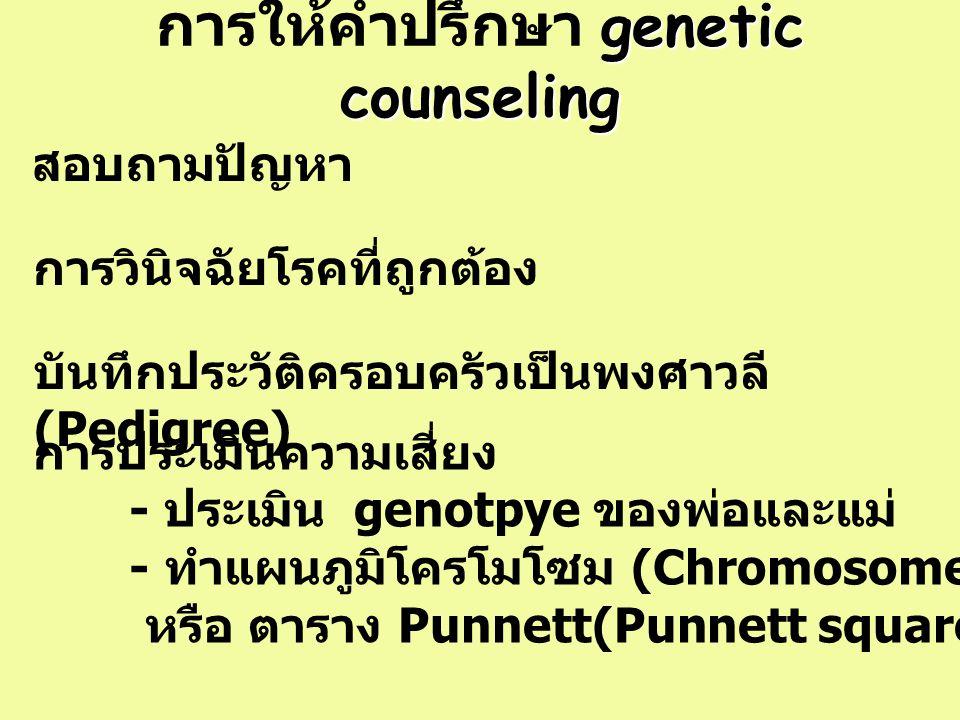 genetic counseling การให้คำปรึกษา genetic counseling การวินิจฉัยโรคที่ถูกต้อง สอบถามปัญหา บันทึกประวัติครอบครัวเป็นพงศาวลี (Pedigree) การประเมินความเส