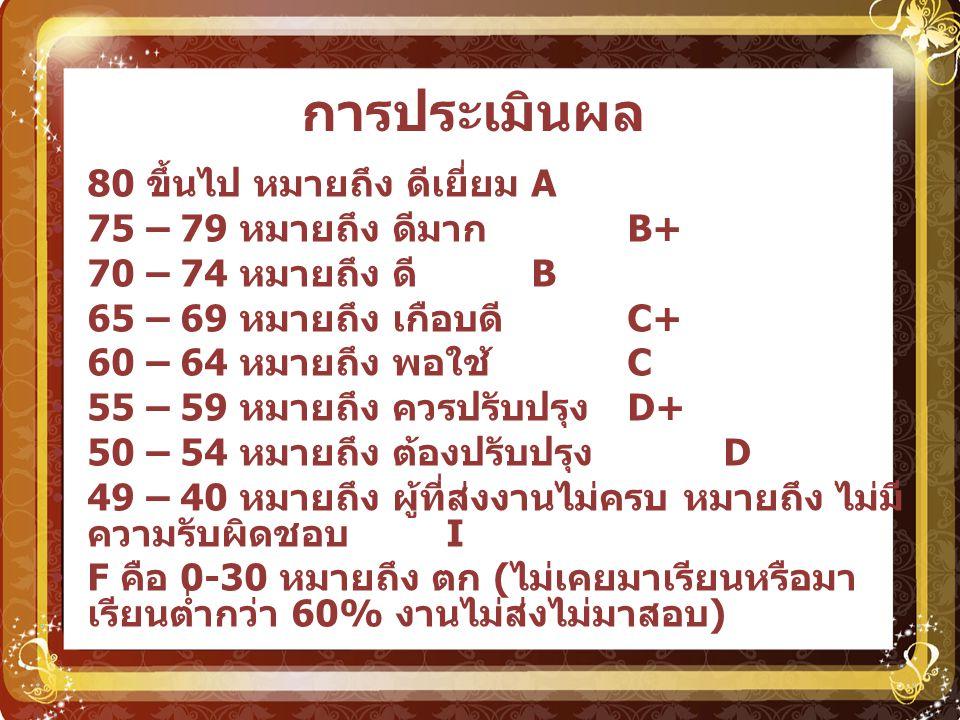 การประเมินผล 80 ขึ้นไป หมายถึง ดีเยี่ยม A 75 – 79 หมายถึง ดีมาก B+ 70 – 74 หมายถึง ดี B 65 – 69 หมายถึง เกือบดี C+ 60 – 64 หมายถึง พอใช้ C 55 – 59 หมา