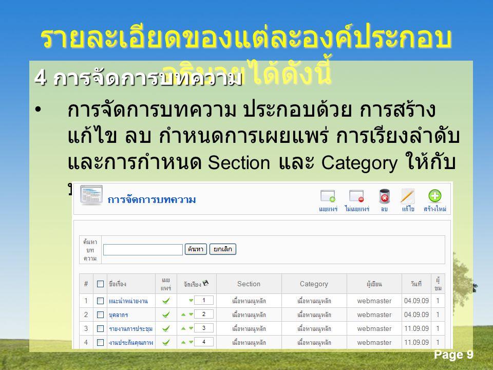Page 9 รายละเอียดของแต่ละองค์ประกอบ อธิบายได้ดังนี้ 4 การจัดการบทความ การจัดการบทความ ประกอบด้วย การสร้าง แก้ไข ลบ กำหนดการเผยแพร่ การเรียงลำดับ และการกำหนด Section และ Category ให้กับ บทความ