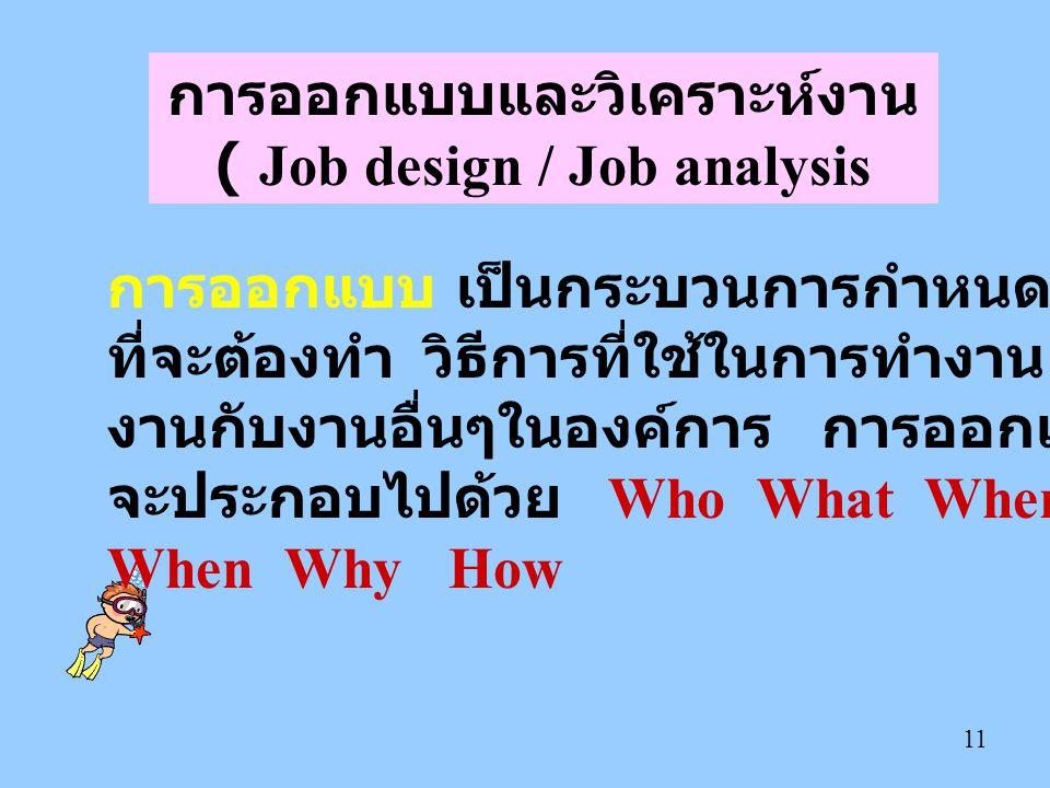 11 การออกแบบและวิเคราะห์งาน ( Job design / Job analysis การออกแบบ เป็นกระบวนการกำหนดงานเฉพาะอย่าง ที่จะต้องทำ วิธีการที่ใช้ในการทำงาน การเกี่ยวข้องของ