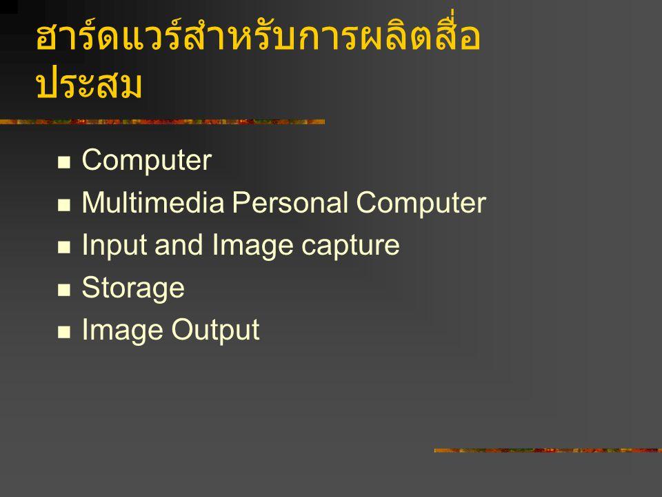 ฮาร์ดแวร์สำหรับการผลิตสื่อ ประสม Computer Multimedia Personal Computer Input and Image capture Storage Image Output