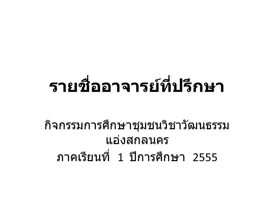 รายชื่ออาจารย์ที่ปรึกษา กิจกรรมการศึกษาชุมชนวิชาวัฒนธรรม แอ่งสกลนคร ภาคเรียนที่ 1 ปีการศึกษา 2555
