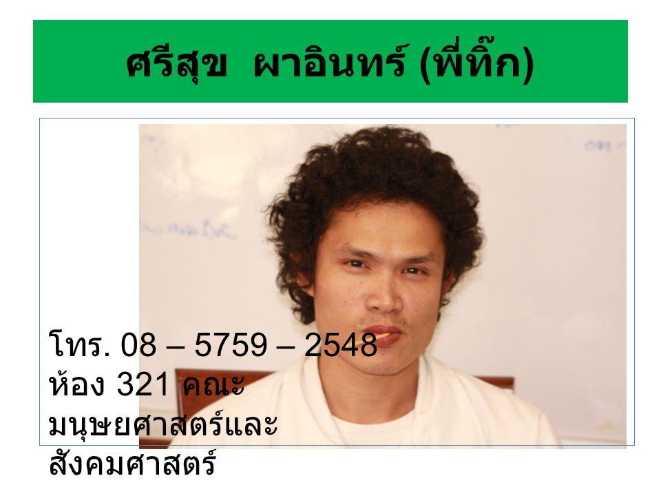 อาจารย์ดนัย ชาทิพฮด โทร. 08 – 0055 – 4500 ที่อยู่ สาขาวิชาภาษาไทย คณะมนุษยศาสตร์ฯ