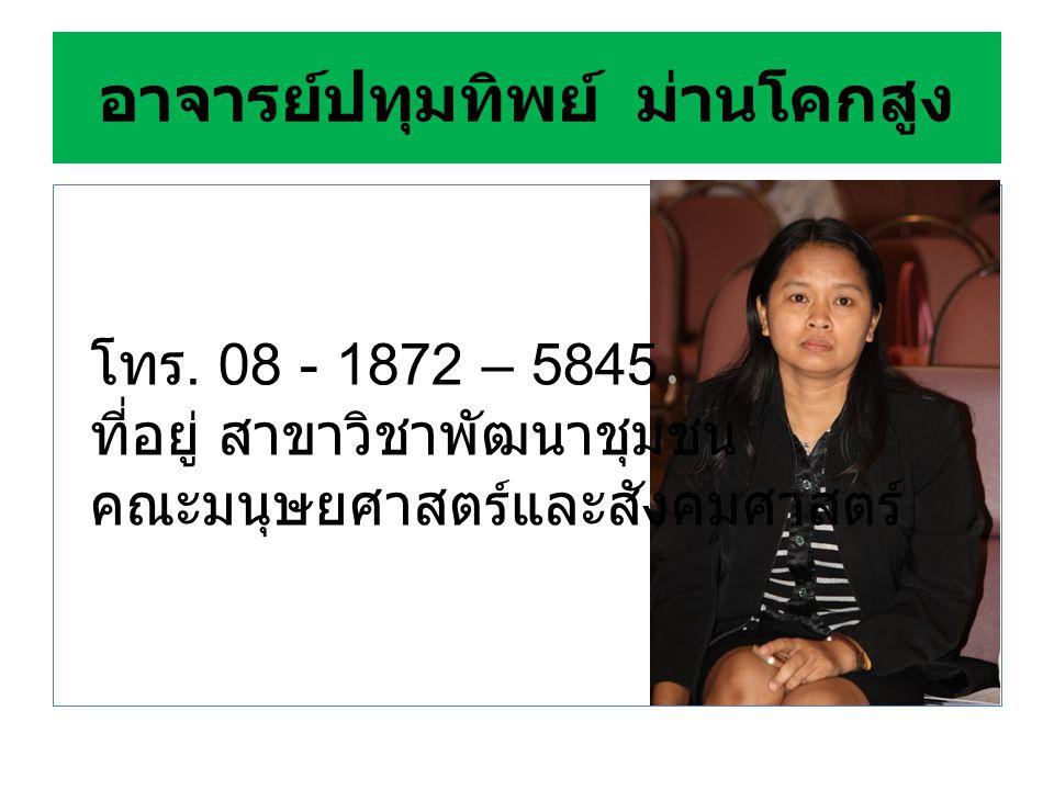 อ. วรังกูร ขาวขันธ์ โทร 083-361-8134 สำนักงาน ห้อง 321 คณะมนุษยศาสตร์และ สังคมศาสตร์