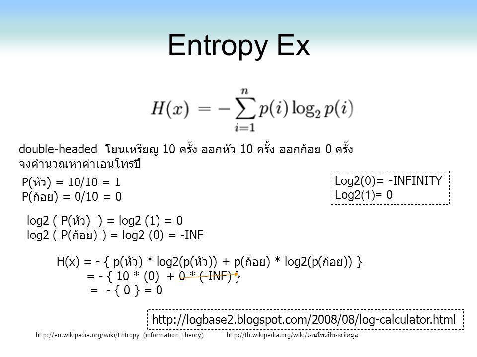 Entropy Ex http://en.wikipedia.org/wiki/Entropy_(information_theory)http://th.wikipedia.org/wiki/เอนโทรปีของข้อมูล Log2(0)= -INFINITY Log2(1)= 0 doubl