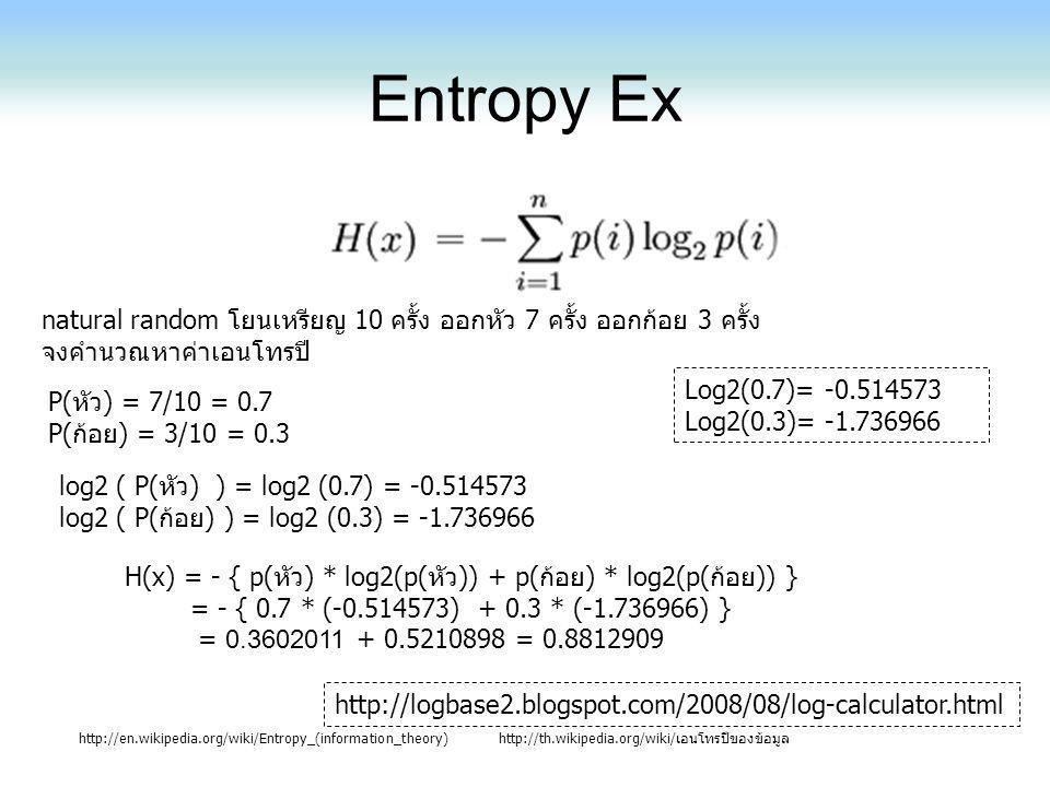 Entropy Ex http://en.wikipedia.org/wiki/Entropy_(information_theory)http://th.wikipedia.org/wiki/เอนโทรปีของข้อมูล Log2(0.7)= -0.514573 Log2(0.3)= -1.