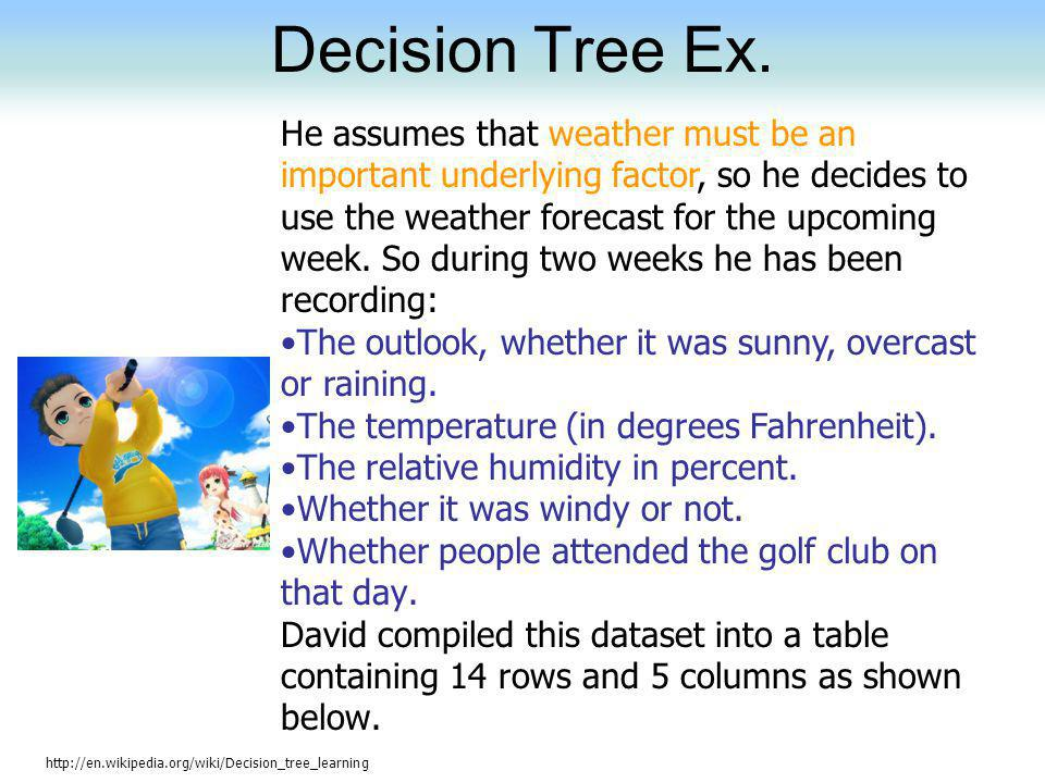 Decision Tree Ex. http://en.wikipedia.org/wiki/Decision_tree_learning