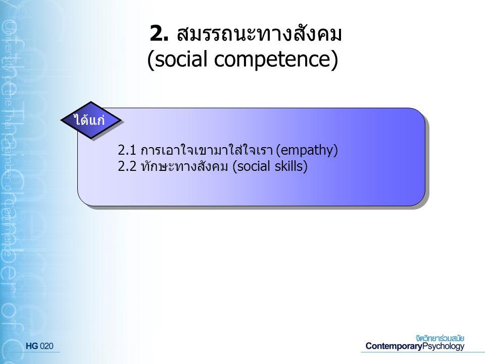 2. สมรรถนะทางสังคม (social competence) ได้แก่ 2.1 การเอาใจเขามาใส่ใจเรา (empathy) 2.2 ทักษะทางสังคม (social skills)