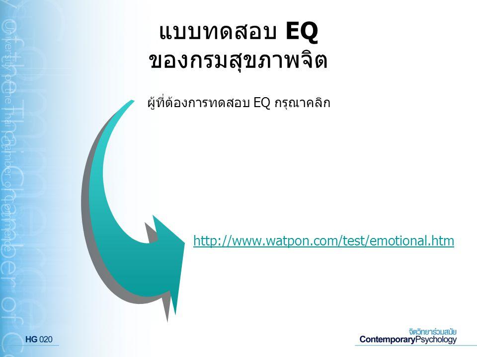 แบบทดสอบ EQ ของกรมสุขภาพจิต http://www.watpon.com/test/emotional.htm ผู้ที่ต้องการทดสอบ EQ กรุณาคลิก