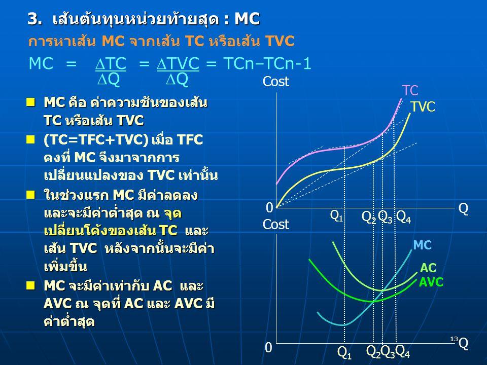 13 3. เส้นต้นทุนหน่วยท้ายสุด : MC MC คือ ค่าความชันของเส้น TC หรือเส้น TVC MC คือ ค่าความชันของเส้น TC หรือเส้น TVC (TC=TFC+TVC) เมื่อ TFC คงที่ MC จึ