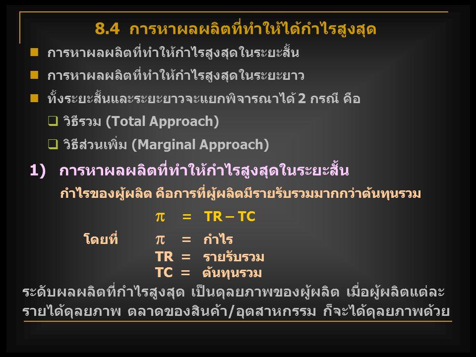 วิธีรวม (Total Approach) กำไร = TR – TC หาระดับผลผลิตซึ่ง TR ห่าง จาก TC มากที่สุด ช่วงที่ TR>TC มากที่สุด  กำไรสูงสุด  slope TR= slope TC โดย TR อยู่ เหนือ TC หรือ MR= MC  ต้นุทนรวมอยู่ในช่วงที่ เพิ่มขึ้นในอัตราที่เพิ่มขึ้น Q Q1Q1 Q2Q2 Q 0 รายรับ, ต้นทุน TR B A Q Q1Q1 Q2Q2 Q 0 กำไร  TC