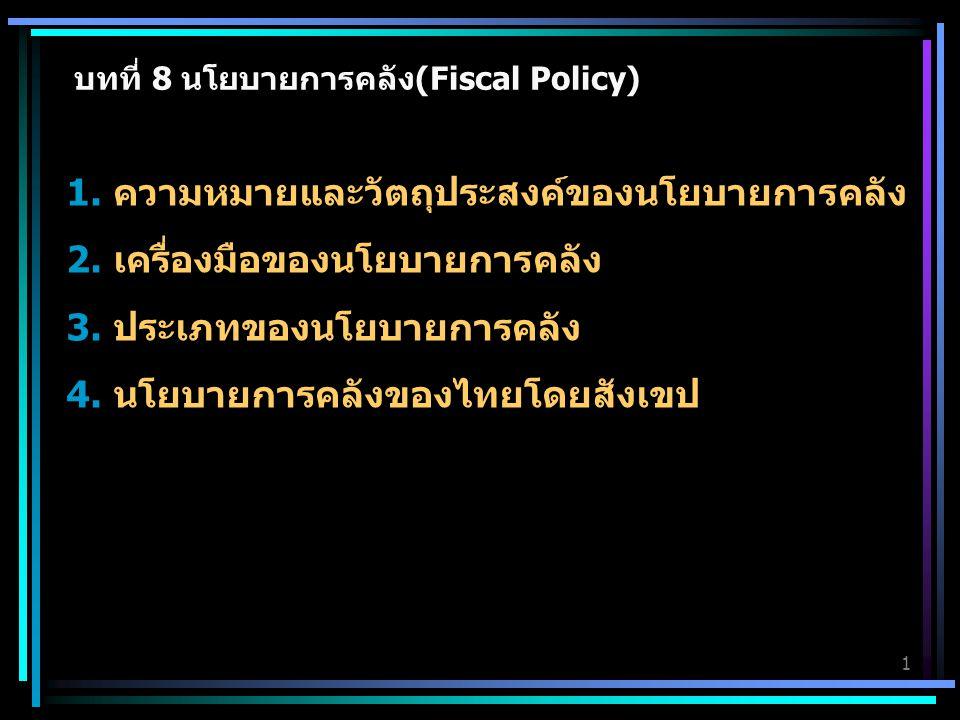 บทที่ 8 นโยบายการคลัง(Fiscal Policy) 1. ความหมายและวัตถุประสงค์ของนโยบายการคลัง 2. เครื่องมือของนโยบายการคลัง 3. ประเภทของนโยบายการคลัง 4. นโยบายการคล