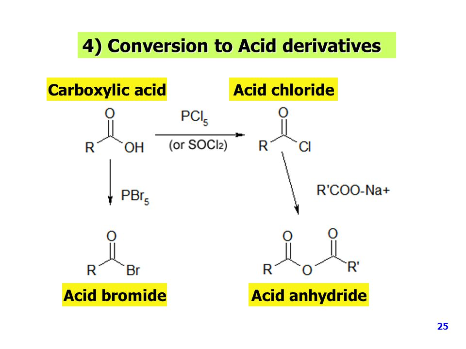 4) Conversion to Acid derivatives 25 Carboxylic acidAcid chloride Acid bromideAcid anhydride