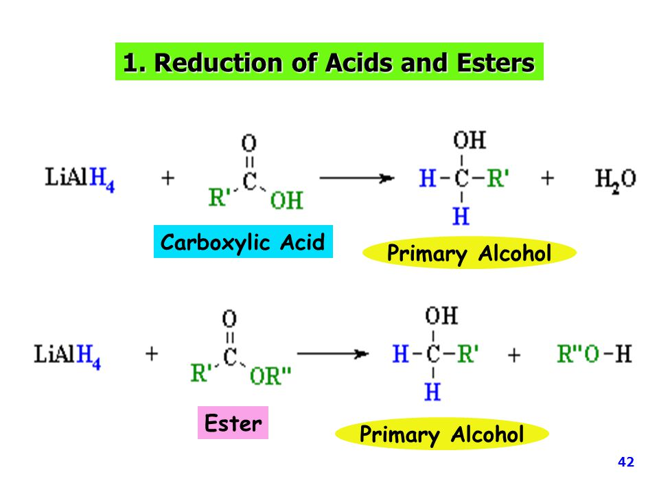 1. Reduction of Acids and Esters Carboxylic Acid Ester Primary Alcohol 42