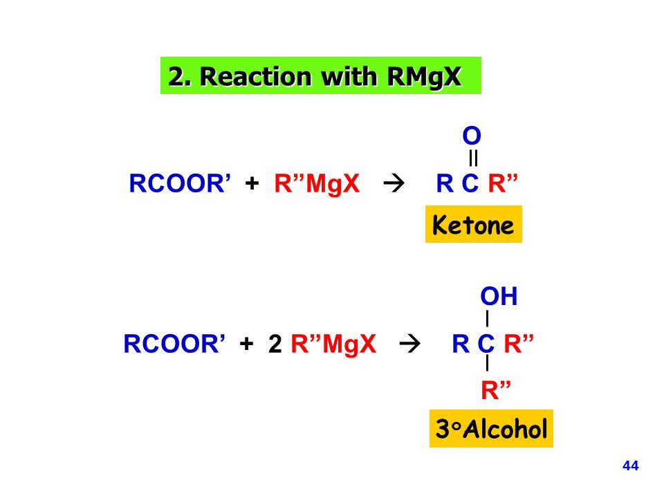 "2. Reaction with RMgX RCOOR' + R""MgX  R C R"" O RCOOR' + 2 R""MgX  R C R"" OH R"" Ketone 3 ๐ Alcohol 44"