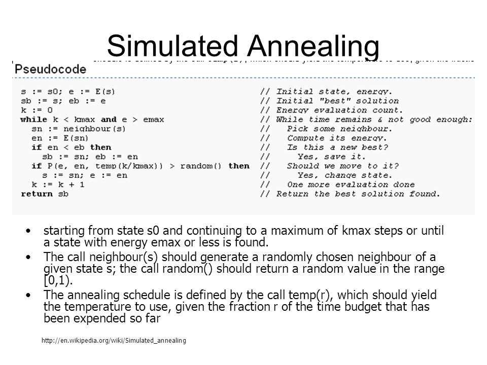 Simulated Annealing starting from state s0 and continuing to a maximum of kmax steps or until a state with energy emax or less is found. The call neig