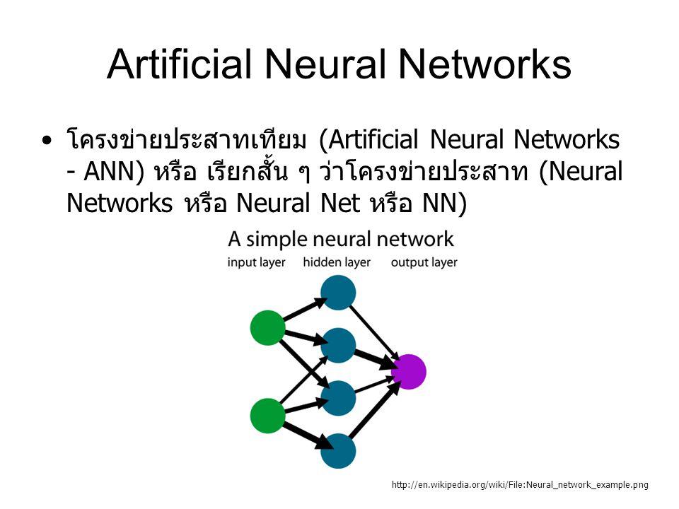 Artificial Neural Networks โครงข่ายประสาทเทียม (Artificial Neural Networks - ANN) หรือ เรียกสั้น ๆ ว่าโครงข่ายประสาท (Neural Networks หรือ Neural Net หรือ NN) http://en.wikipedia.org/wiki/File:Neural_network_example.png