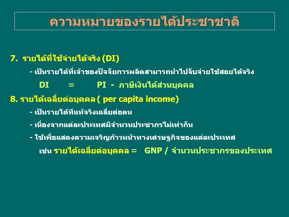 ความหมายของรายได้ประชาชาติ 7. รายได้ที่ใช้จ่ายได้จริง (DI) - เป็นรายได้ที่เจ้าของปัจจัยการผลิตสามารถนำไปจับจ่ายใช้สอยได้จริง DI=PI - ภาษีเงินได้ส่วนบุ