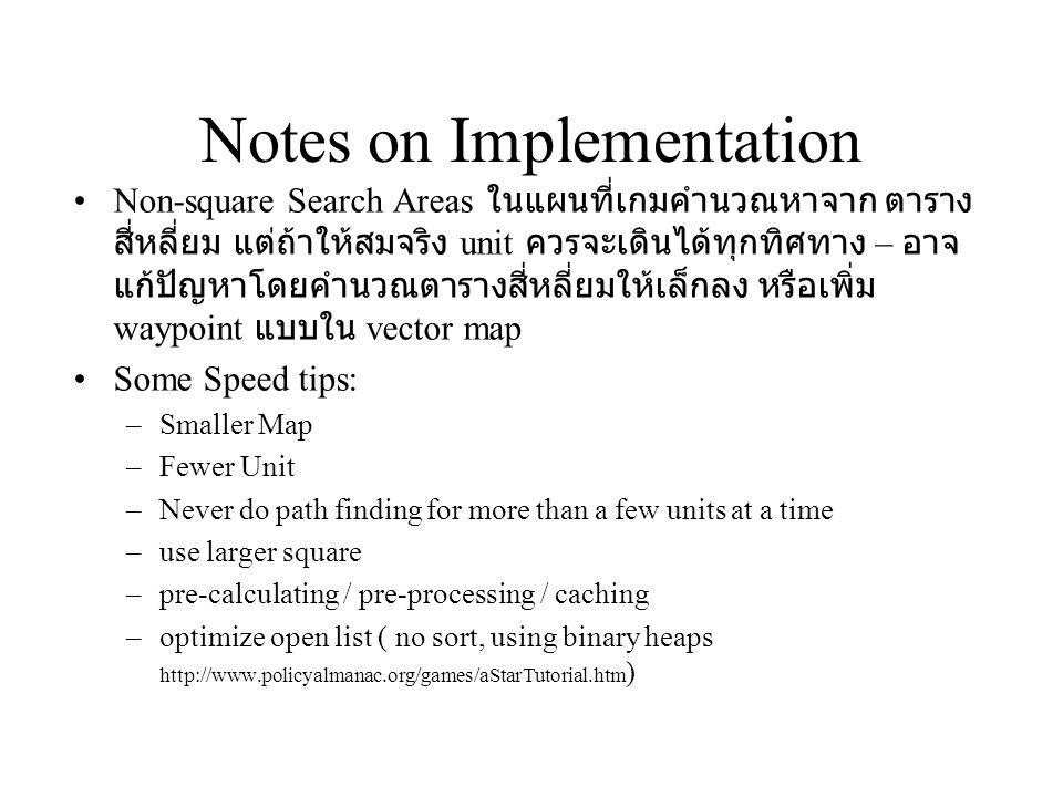 Notes on Implementation Non-square Search Areas ในแผนที่เกมคำนวณหาจาก ตาราง สี่หลี่ยม แต่ถ้าให้สมจริง unit ควรจะเดินได้ทุกทิศทาง – อาจ แก้ปัญหาโดยคำนว