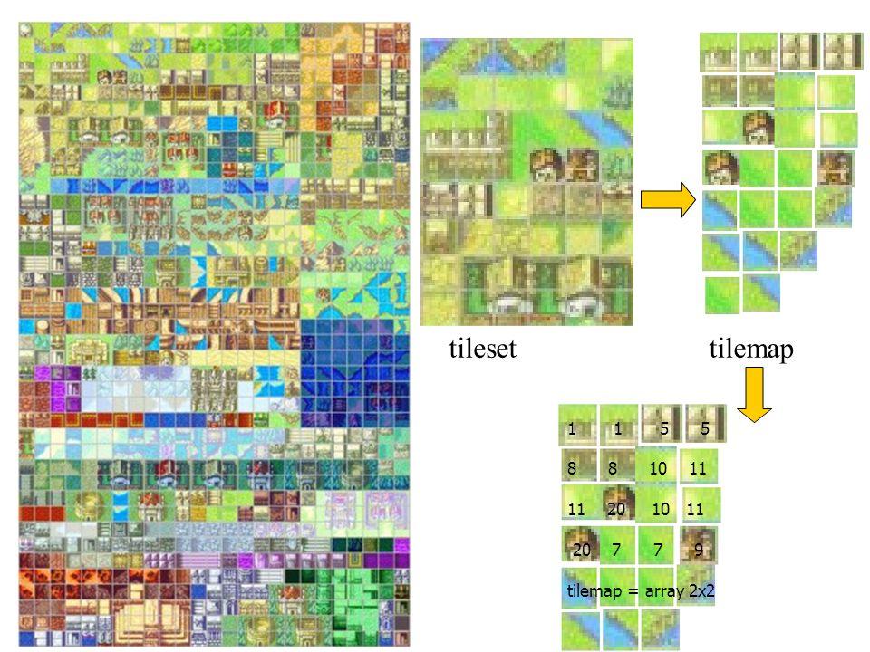 tilesettilemap 1 1 5 5 8 8 10 11 11 20 10 11 20 7 7 9 tilemap = array 2x2