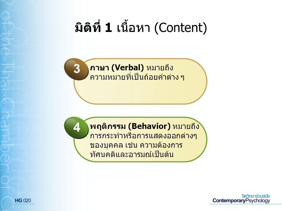 มิติที่ 1 เนื้อหา (Content) ภาษา (Verbal) หมายถึง ความหมายที่เป็นถ้อยคำต่าง ๆ 3 พฤติกรรม (Behavior) หมายถึง การกระทำหรือการแสดงออกต่างๆ ของบุคคล เช่น