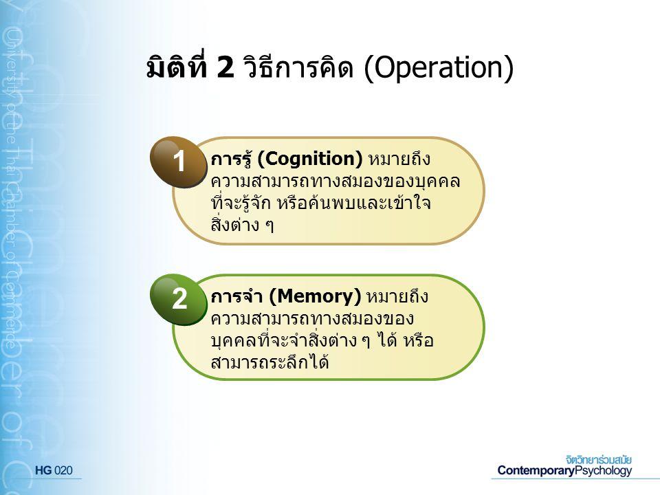 มิติที่ 2 วิธีการคิด (Operation) การรู้ (Cognition) หมายถึง ความสามารถทางสมองของบุคคล ที่จะรู้จัก หรือค้นพบและเข้าใจ สิ่งต่าง ๆ 1 การจำ (Memory) หมายถ