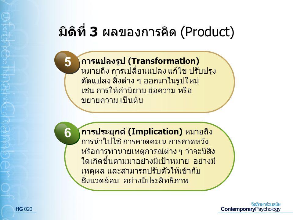 มิติที่ 3 ผลของการคิด (Product) การแปลงรูป (Transformation) หมายถึง การเปลี่ยนแปลง แก้ไข ปรับปรุง ดัดแปลง สิ่งต่าง ๆ ออกมาในรูปใหม่ เช่น การให้คำนิยาม